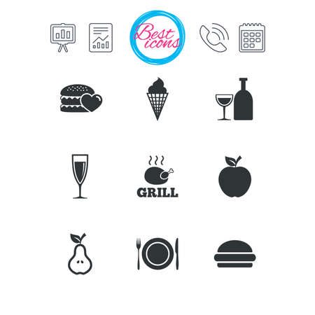 Presentation, report and calendar signs. Food, drink icons. Grill, burger and ice cream signs. Chicken, champagne and apple symbols. Classic simple flat web icons. Vector