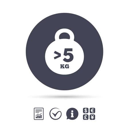 무게 기호 아이콘입니다. 5 킬로그램 (kg) 이상. 스포츠 기호입니다. 적합. 보고서, 정보 및 틱 아이콘을 확인하십시오. 환전소. 벡터 일러스트