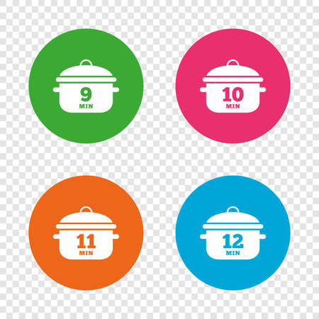 Cooking pan icons. Boil 9, 10, 11 and 12 minutes signs. Stew food symbol. Round buttons on transparent background. Vector