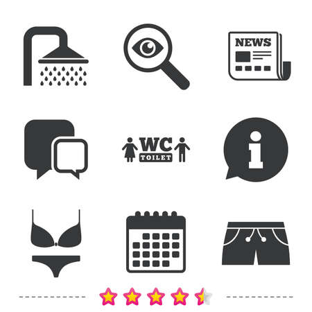 Swimming pool icons. Shower water drops and swimwear symbols. WC Toilet sign. Trunks and women underwear. Newspaper, information and calendar icons. Investigate magnifier, chat symbol. Vector