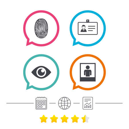 Identity ID card badge icons. Eye and fingerprint symbols. Authentication signs. Photo frame with human person. Calendar, internet globe and report linear icons. Star vote ranking. Vector