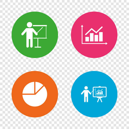 Diagram graph Pie chart icon. Presentation billboard symbol. Supply and demand. Man standing with pointer. Round buttons on transparent background. Vector