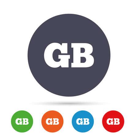 Britse taal teken pictogram. GB Groot-Brittannië vertaalsymbool. Ronde kleurrijke knoppen met plat pictogrammen. Vector Stock Illustratie