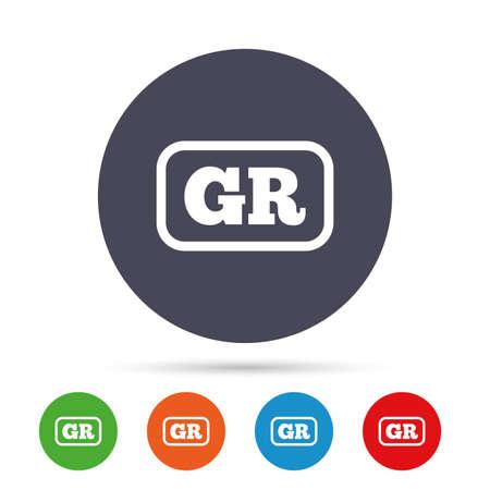 Griekse taal teken pictogram. GR Griekenland vertaalsymbool met frame. Ronde kleurrijke knoppen met plat pictogrammen. Vector