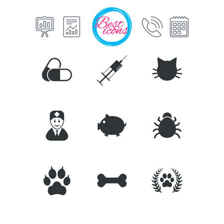 Presentation, report and calendar signs. Veterinary, pets icons. Paw, syringe and bone signs. Pills, cat and doctor symbols. Classic simple flat web icons. Vector Иллюстрация