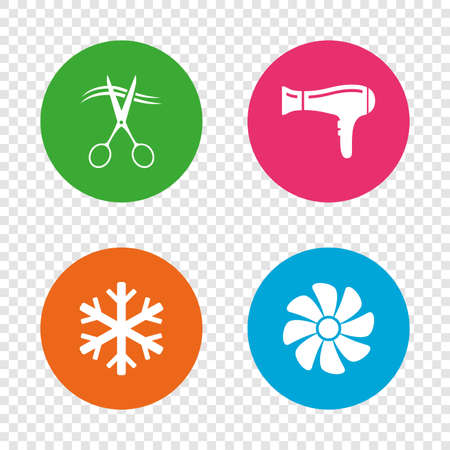 Hotel services icons. Air conditioning, Hairdryer and Ventilation in room signs. Climate control. Hairdresser or barbershop symbol. Round buttons on transparent background. Vector