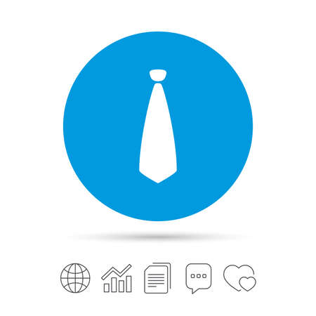 Tie sign icon. Business clothes symbol. Copy files, chat speech bubble and chart web icons. Vector