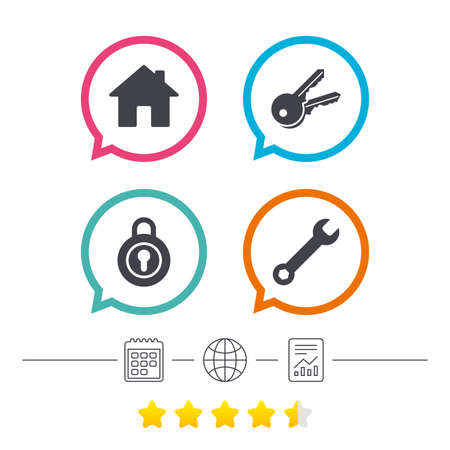 calendar icon: Home key icon. Wrench service tool symbol. Locker sign. Main page web navigation. Calendar, internet globe and report linear icons. Star vote ranking. Vector