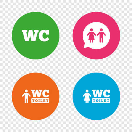 WC Toilet icons. Gents and ladies room signs. Man and woman speech bubble symbol. Round buttons on transparent background. Vector