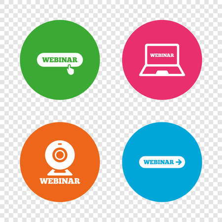 Webinar icons. Web camera and notebook pc signs. Website e-learning or online study symbols. Round buttons on transparent background. Vector