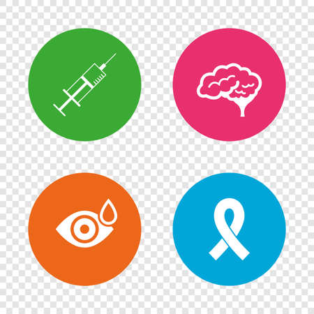 Medicine icons. Syringe, eye with drop, brain and ribbon signs. Breast cancer awareness symbol. Human smart mind. Round buttons on transparent background. Vector Illustration