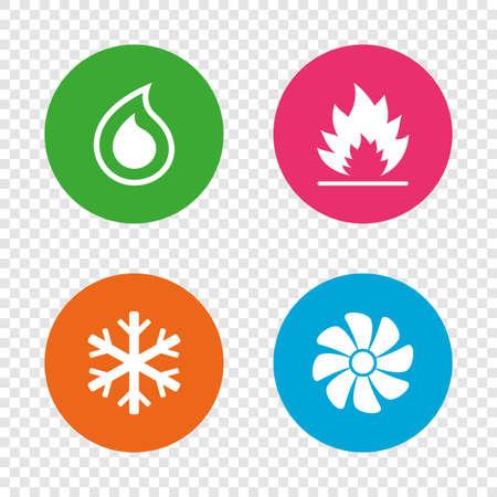 HVAC-Symbole. Heizung, Lüftung und Klimaanlage Symbole. Wasserversorgung. Klimasteuerungs-Technologie-Zeichen. Runde Knöpfe auf transparentem Hintergrund. Vektor Standard-Bild - 76311450