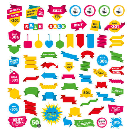 Web banners and labels. Special offer tags. Handshake icons. World, Smile happy face and house building symbol. Dollar cash money. Amicable agreement. Discount stickers. Vector