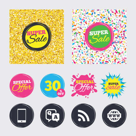 Gold glitter and confetti backgrounds. Covers, posters and flyers design. Question answer icon.  Smartphone and Q&A chat speech bubble symbols. RSS feed and internet globe signs. Vector