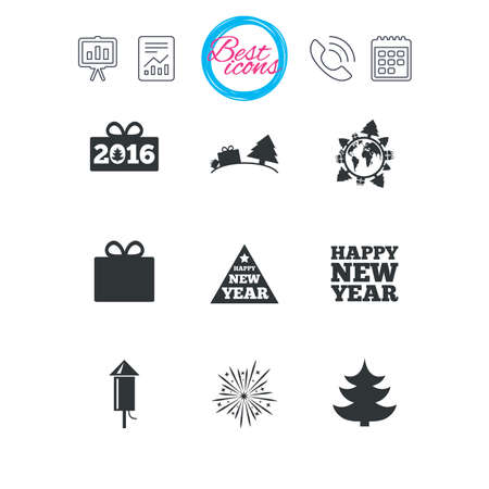 calendar icon: Presentation, report and calendar signs. Christmas, new year icons. Gift box, fireworks signs. Santa bag, salut and rocket symbols. Classic simple flat web icons. Vector