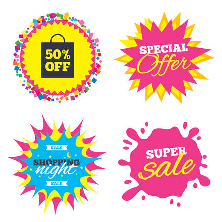 Sale splash banner, special offer star. 50% sale bag tag sign icon. Discount symbol. Special offer label. Shopping night star label. Vector Ilustração