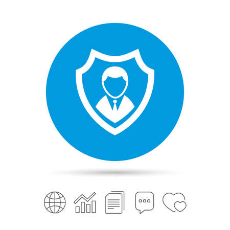 Security agency sign icon. Shield protection symbol. Copy files, chat speech bubble and chart web icons. Vector