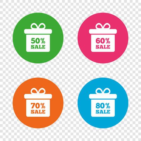 판매 선물 상자 태그 아이콘입니다. 특별 할인 기호를 할인하십시오. 50 %, 60 %, 70 % 및 80 % 판매 기호. 투명 한 배경에서 라운드 단추입니다. 벡터 일러스트