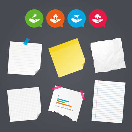 hand holding paper: Business paper banners with notes. Helping hands icons. Shelter for dogs symbol. Home house or real estate and key signs. Save nature forest. Sticky colorful tape. Speech bubbles with icons. Vector