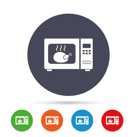 Microwave oven sign icon. Roast chicken. Kitchen electric stove symbol. Round colourful buttons with flat icons. Vector