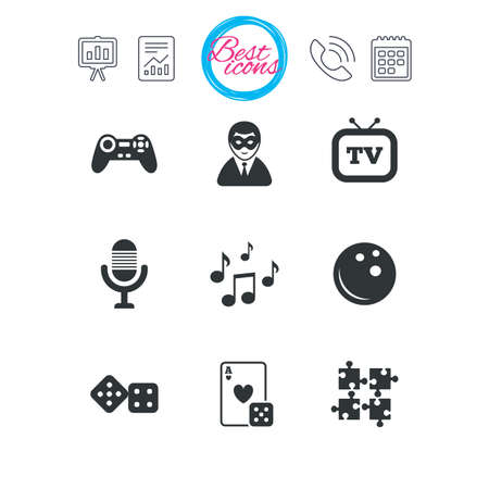 calendar icon: Presentation, report and calendar signs. Entertainment icons. Game, bowling and puzzle signs. Casino, carnival and musical note symbols. Classic simple flat web icons. Vector