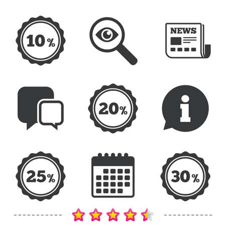 Sale discount icons. Special offer stamp price signs. 10, 20, 25 and 30 percent off reduction symbols. Newspaper, information and calendar icons. Investigate magnifier, chat symbol. Vector Çizim