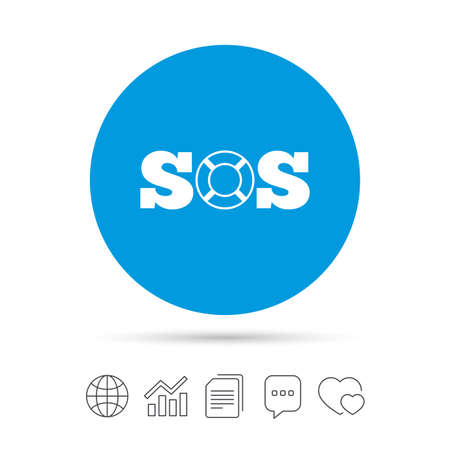 SOS sign icon. Lifebuoy symbol. Copy files, chat speech bubble and chart web icons. Vector
