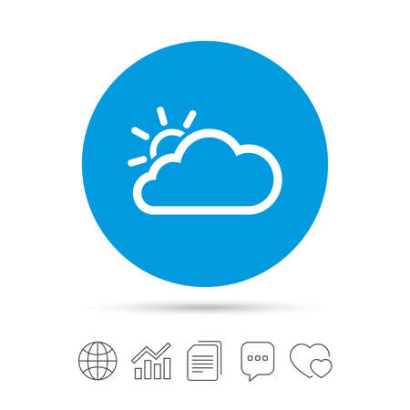 Cloud and sun sign icon. Weather symbol. Copy files, chat speech bubble and chart web icons. Vector Illustration