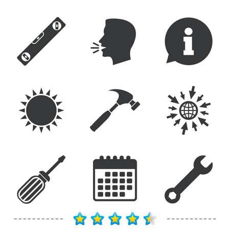 Schroevendraaier en sleutel sleutel gereedschapspictogrammen. Bellenniveau en hamertekensymbolen. Informatie, ga naar web- en kalenderpictogrammen. Zon en luid spreken symbool. Vector Vector Illustratie
