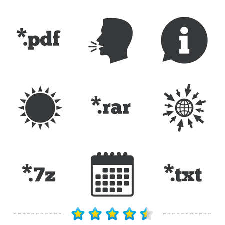 Document icons. File extensions symbols. PDF, RAR, 7z and TXT signs. Information, go to web and calendar icons. Sun and loud speak symbol. Vector