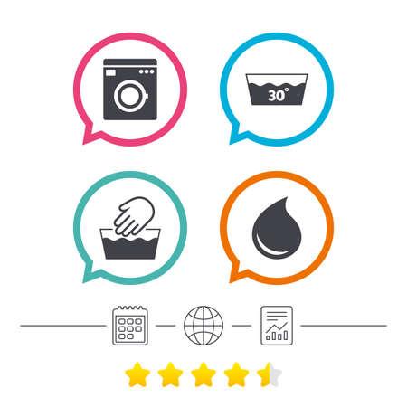Handwäsche-Symbol. Maschinenwaschbar bei 30 Grad Symbolen. Waschküche und Wassertropfen Zeichen. Kalender, Internet Globus und berichten lineare Icons. Star-Stimmen-Rangliste. Vektor