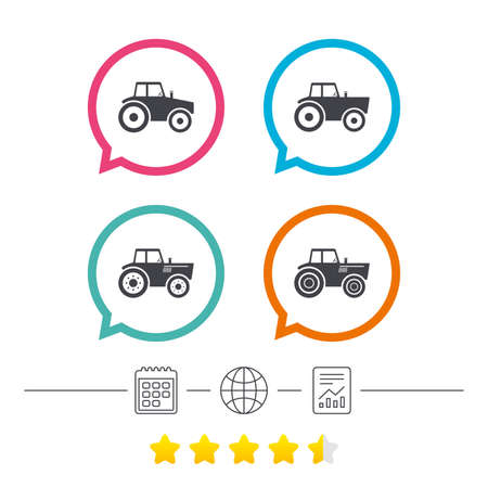 Tractor icons. Agricultural industry transport symbols. Calendar, internet globe and report linear icons. Star vote ranking. Vector Ilustrace