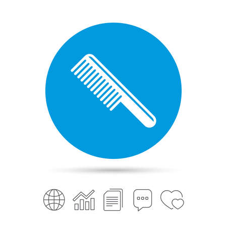 Comb hair sign icon. Barber symbol. Copy files, chat speech bubble and chart web icons. Vector Illustration