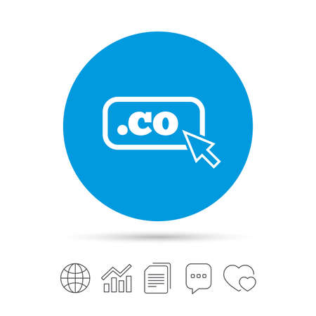 Domain CO sign icon. Top-level internet domain symbol with cursor pointer. Copy files, chat speech bubble and chart web icons. Vector