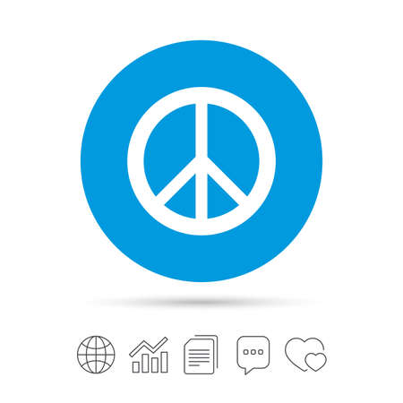 pacificist: Peace sign icon. Hope symbol. Antiwar sign. Copy files, chat speech bubble and chart web icons. Vector Illustration