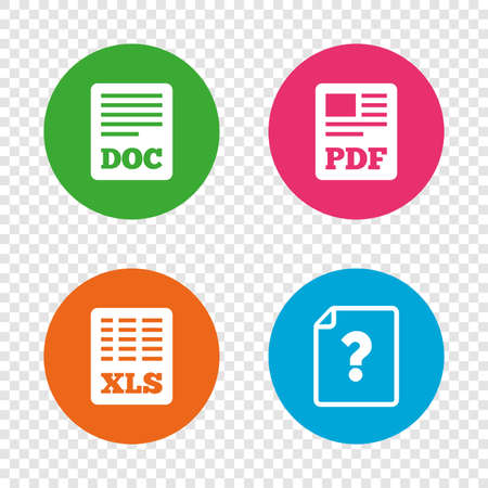 File document and question icons. XLS, PDF and DOC file symbols. Download or save doc signs. Round buttons on transparent background. Vector Çizim