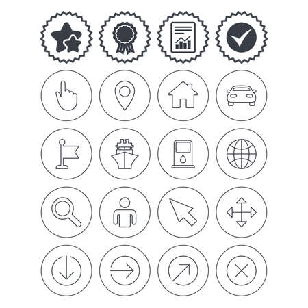 Report, check tick and award signs. GPS navigation icons. Car and Ship transport. You are here, map pointer symbols. Search gas or petrol stations, hotels. Best quality star symbol. Flat buttons