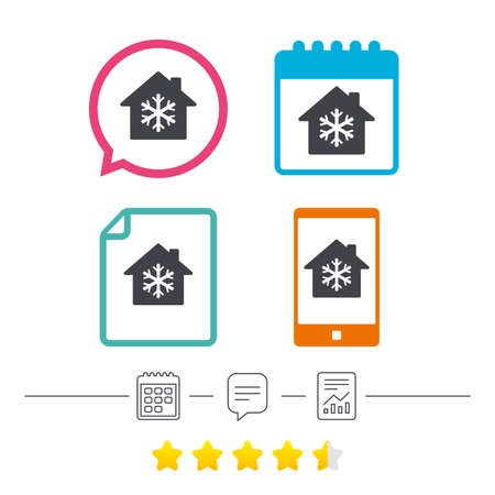 Air conditioning indoors icon. Snowflake sign. Calendar, chat speech bubble and report linear icons. Star vote ranking. Vector