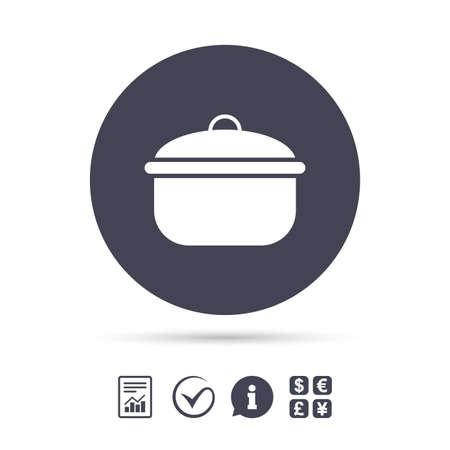Kochen Pfanne Zeichen Symbol. Kochen oder Eintopf Essen Symbol. Dokumente, Informationen und Häkchen anzeigen. Geldwechsel. Vektor Standard-Bild - 76311679
