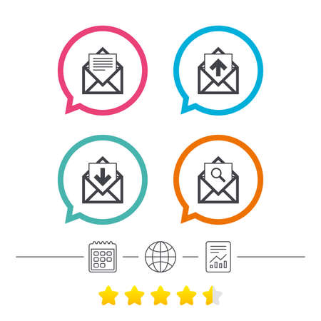 calendar icon: Mail envelope icons. Find message document symbol. Post office letter signs. Inbox and outbox message icons. Calendar, internet globe and report linear icons. Star vote ranking. Vector