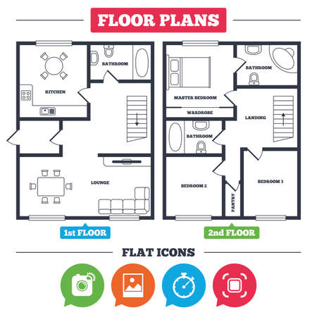 Architecture plan with furniture. House floor plan. Hipster retro photo camera icon. Autofocus zone symbol. Stopwatch timer sign. Landscape photo frame. Kitchen, lounge and bathroom. Vector Illustration