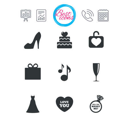 calendar icon: Presentation, report and calendar signs. Wedding, engagement icons. Cake with heart, gift box and brilliant signs. Dress, shoes and musical notes symbols. Classic simple flat web icons. Vector