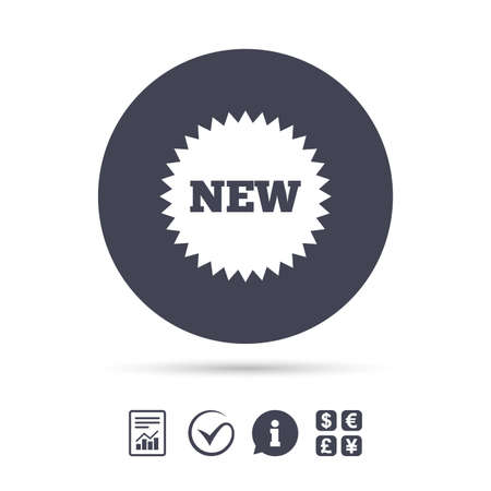 New sign icon. New arrival star symbol. Report document, information and check tick icons. Currency exchange. Vector Illustration