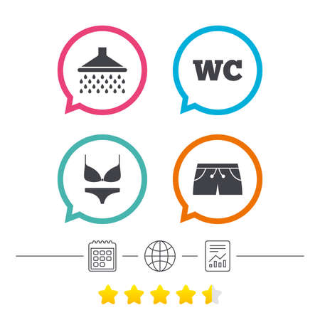 calendar icon: Swimming pool icons. Shower water drops and swimwear symbols. WC Toilet sign. Trunks and women underwear. Calendar, internet globe and report linear icons. Star vote ranking. Vector