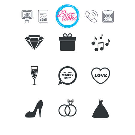 wedding dress: Presentation, report and calendar signs. Wedding, engagement icons. Rings, gift box and brilliant signs. Dress, shoes and musical notes symbols. Classic simple flat web icons. Vector Illustration