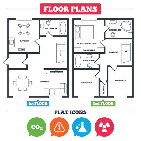 radioactive sign: Architecture plan with furniture. House floor plan. Attention and radiation icons. Chemistry flask sign. CO2 carbon dioxide symbol. Kitchen, lounge and bathroom. Vector Illustration