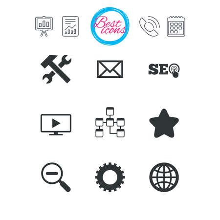 プレゼンテーション、報告書、カレンダーのサイン。インターネット、seo アイコン。修理、データベースおよび星印。メール、設定および監視のシ