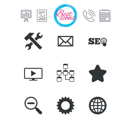 Presentation, report and calendar signs. Internet, seo icons. Repair, database and star signs. Mail, settings and monitoring symbols. Classic simple flat web icons. Vector Illustration