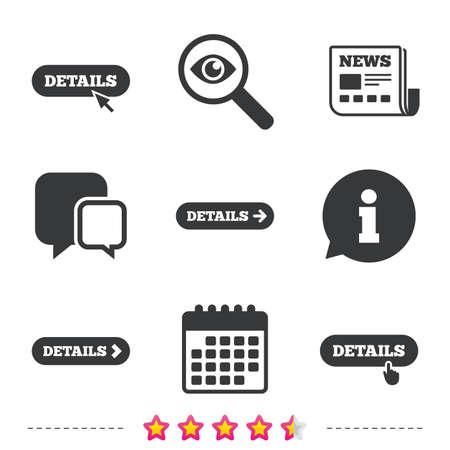 矢印アイコンと詳細。マウスと手カーソルをポインターにサインとより多くのシンボル。新聞・情報・ カレンダーのアイコン。拡大鏡、チャット記