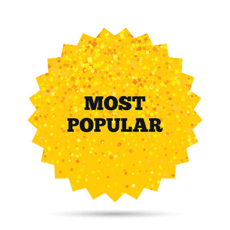 Gold glitter web button. Most popular sign icon. Bestseller symbol. Rich glamour star design. Vector